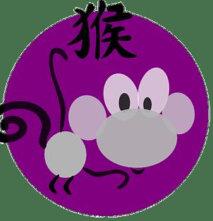 Apesymbol og kinesisk karakter innen den kinesiske astrologen og det kinesiske horoskopet.