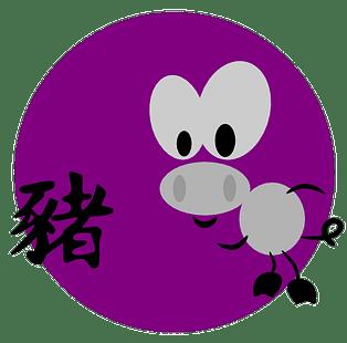 Symbol og kinesisk tegn for grisen i den kinesiske astrologen og det kinesiske horoskopet.