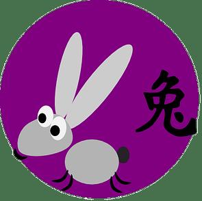Symbol og kinesisk karakter for kaninen i den kinesiske astrologen og det kinesiske horoskopet.