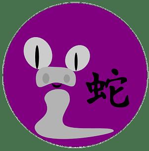 Symbol og kinesisk tegn for slangen i den kinesiske astrologen og det kinesiske horoskopet.