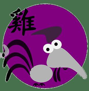 Symbol og kinesisk karakter for hanen i den kinesiske astrologen og det kinesiske horoskopet.